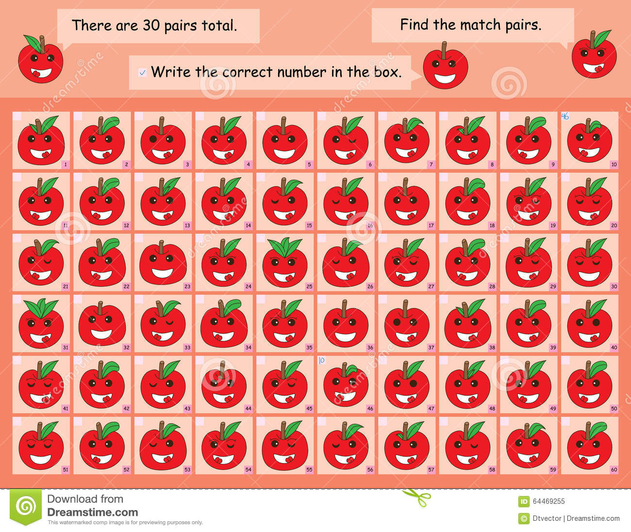 Find: Apple Find The Match Stock Vector