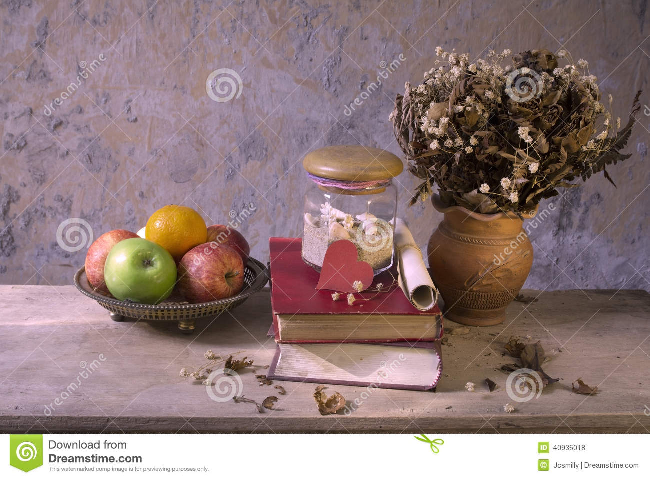 Apple fruit and old book with seashell decoration stock for Apple fruit decoration