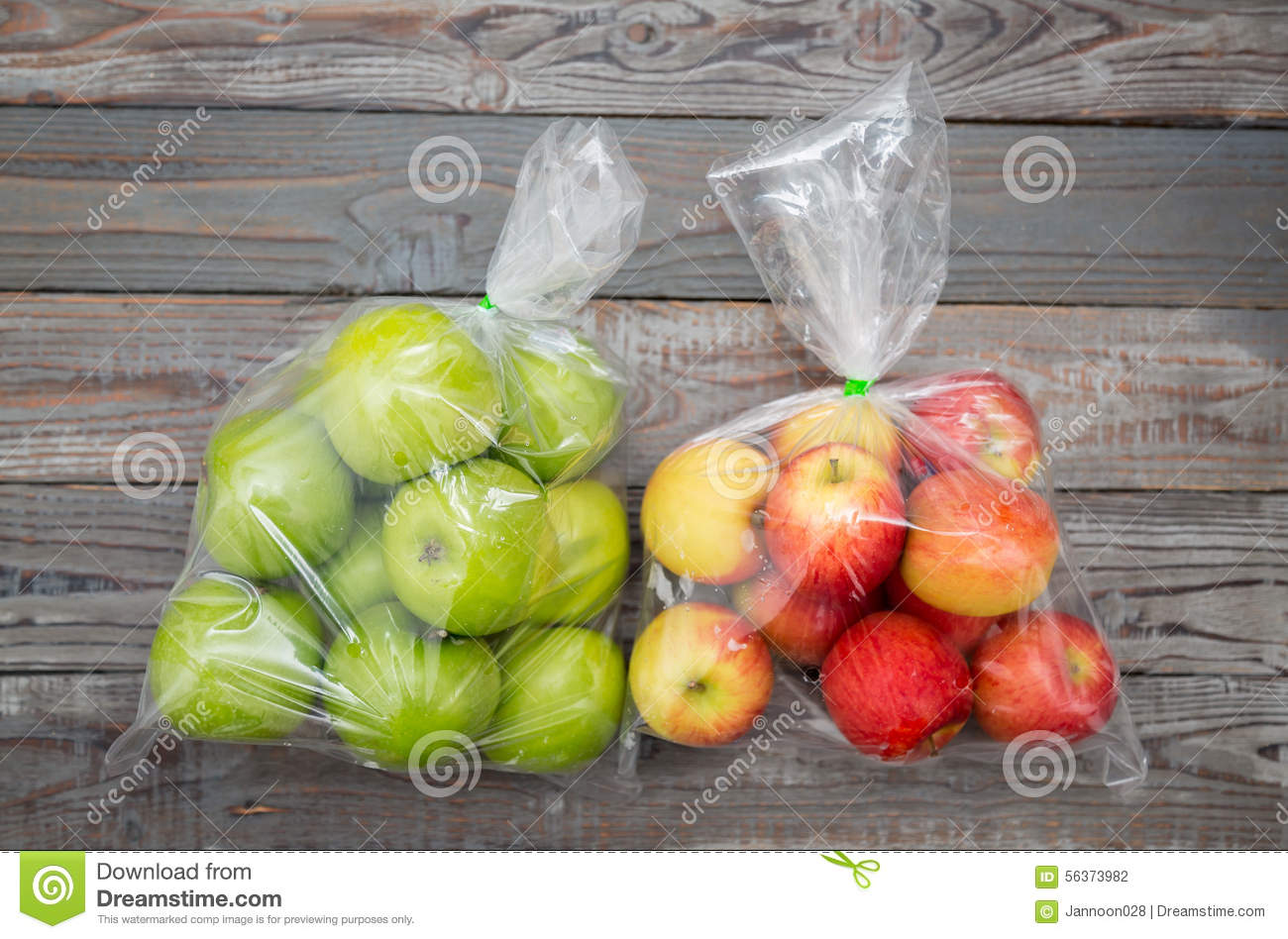 Apple fruit in plastic bag