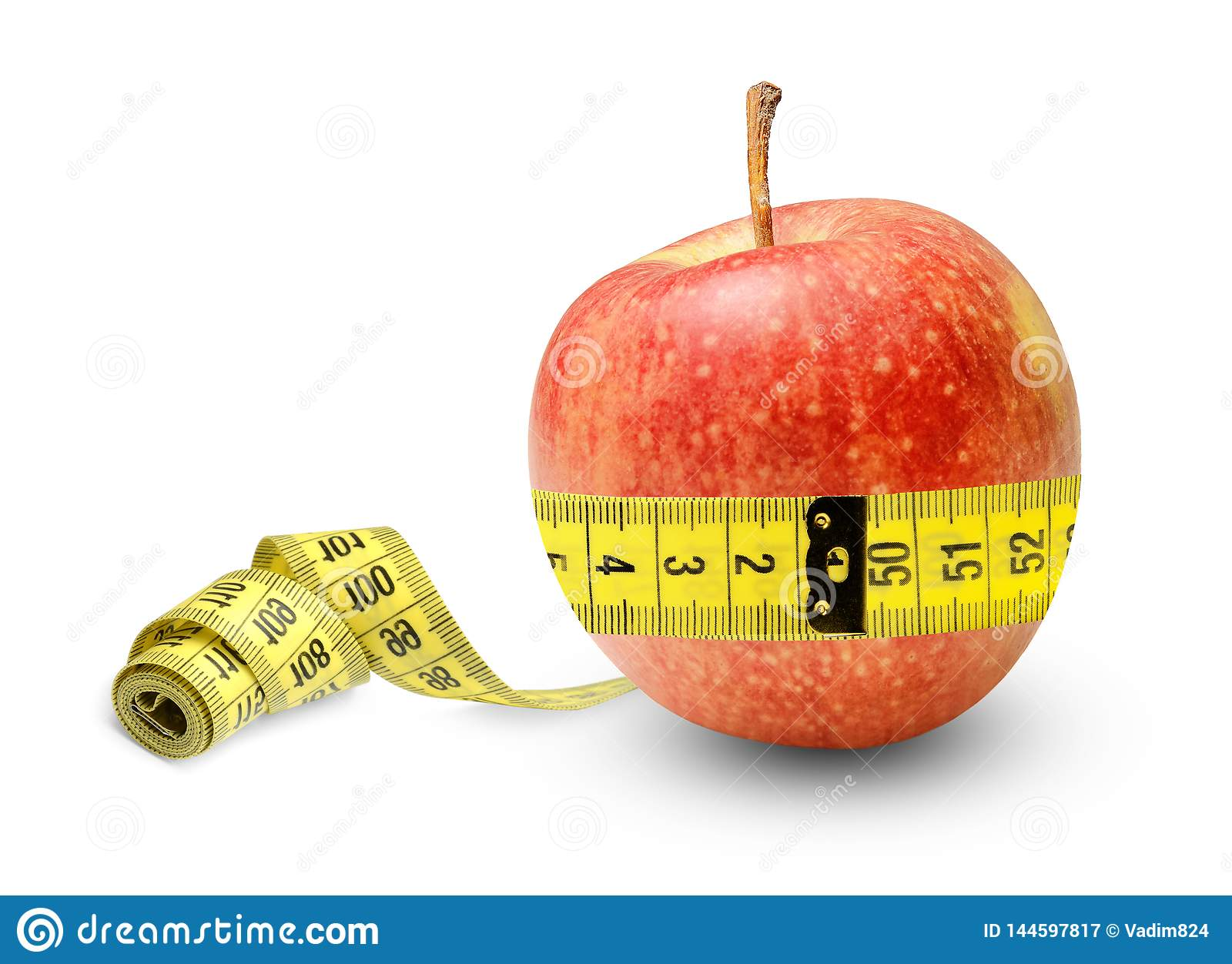An apple full of strength and health measures its waist and is quite the result..Symbol of proper nutrition.