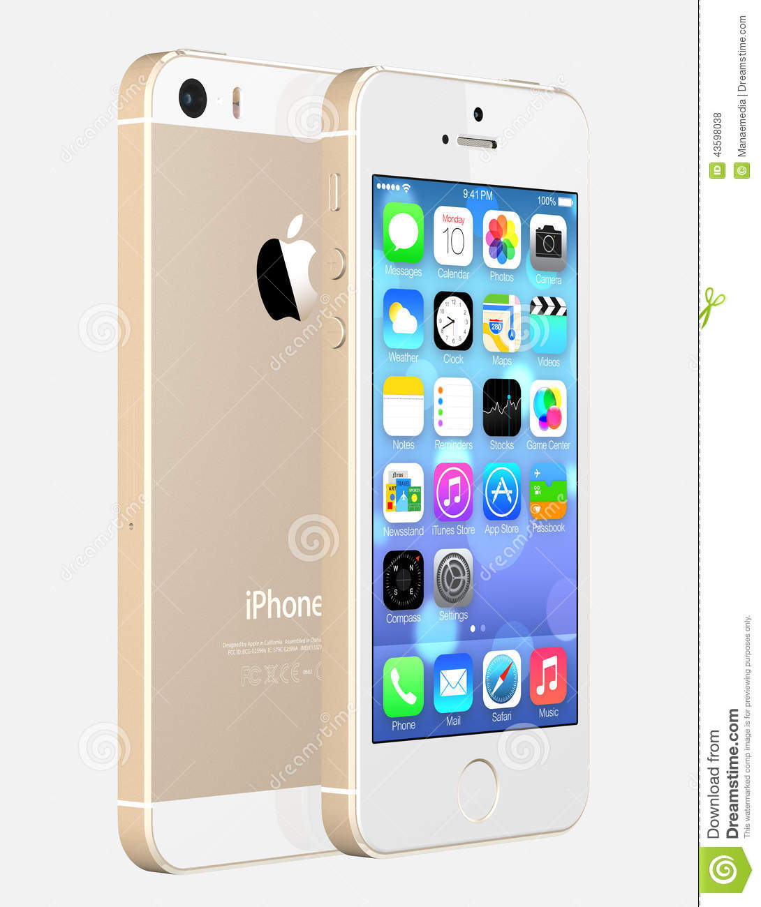 Apple Gold IPhone 5s Showing The Home Screen With IOS7