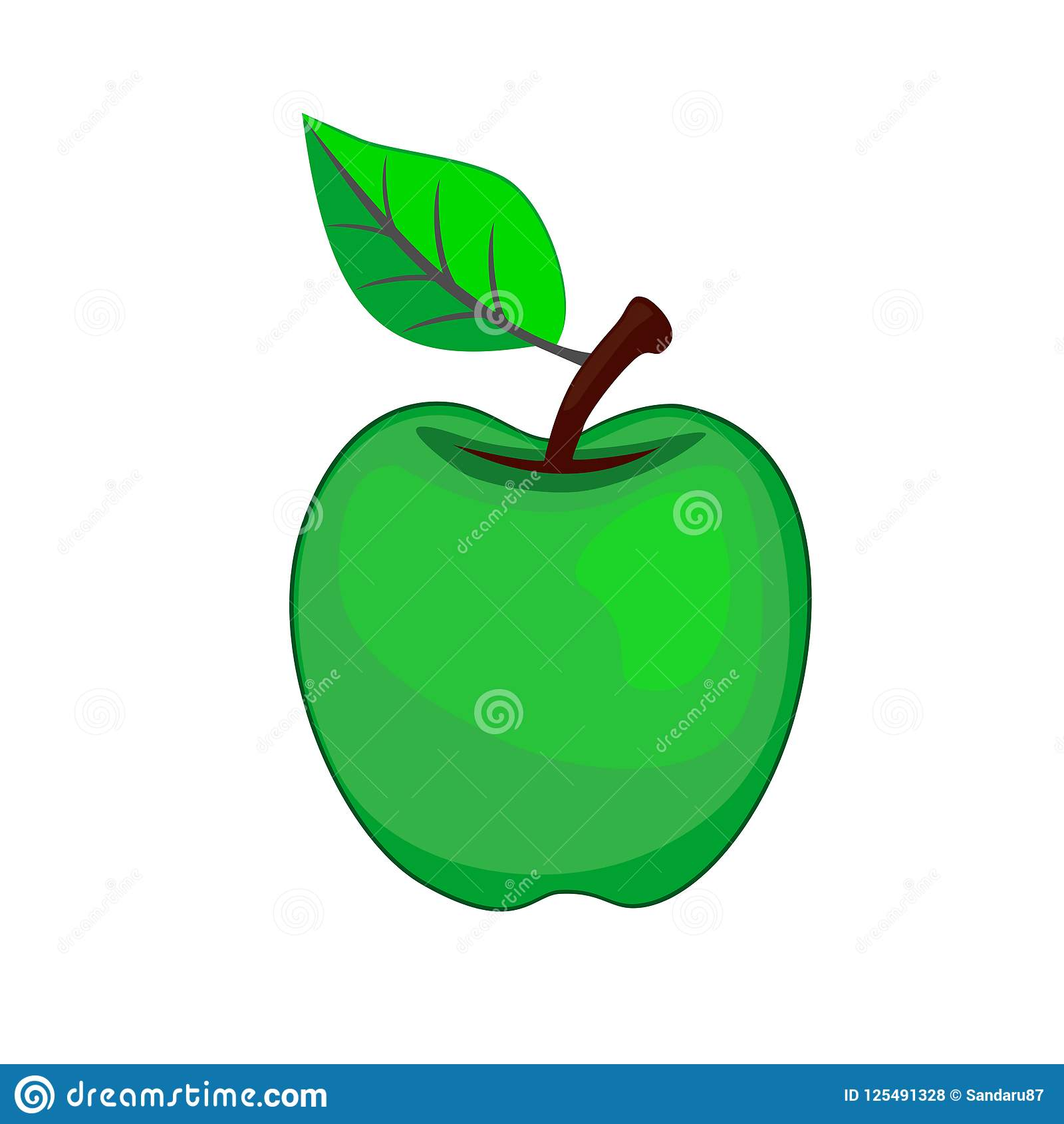 Apple In Green Icon Logo With Leaf On White Background Stock Vector