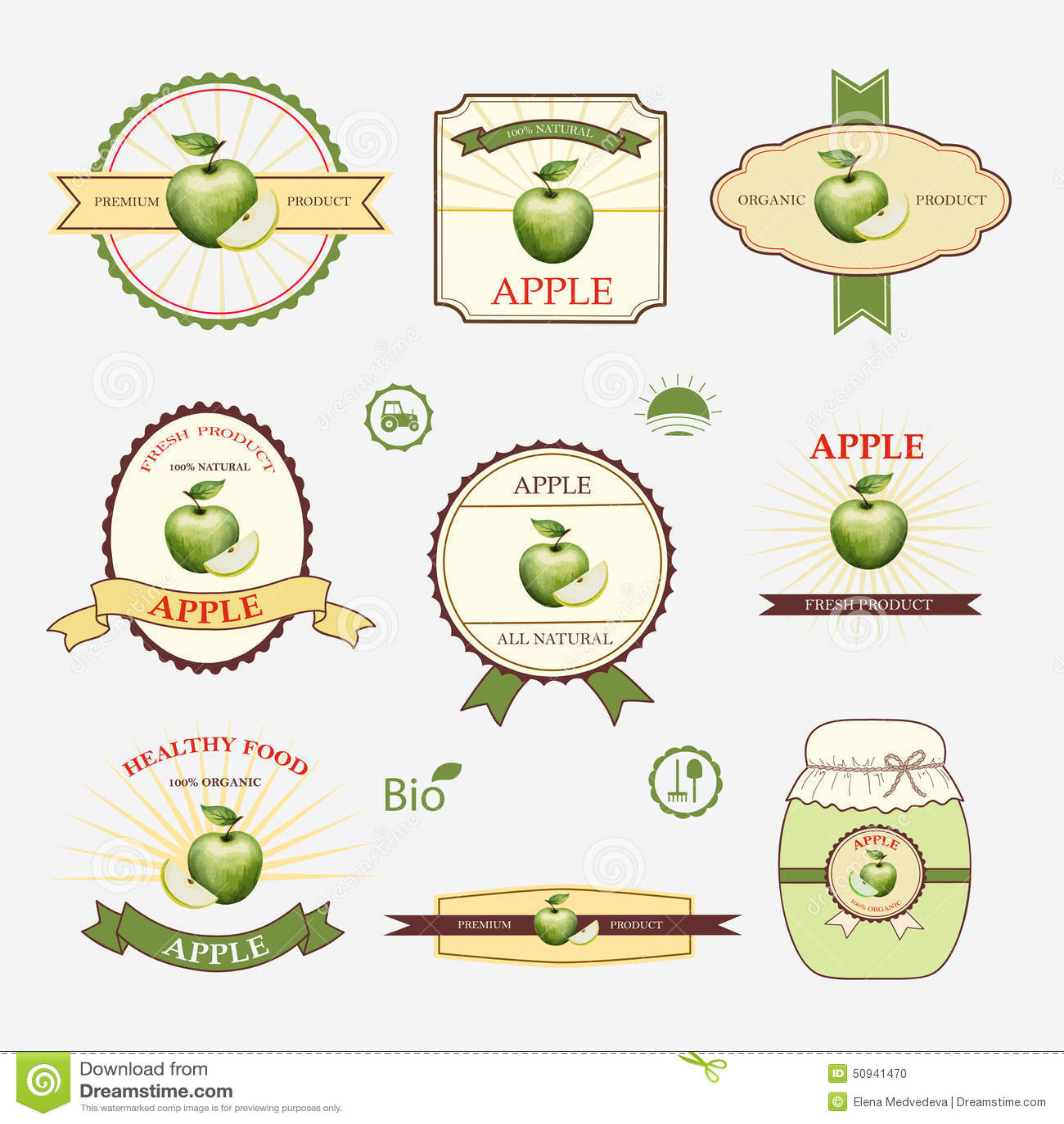 Apple Green Set Of Label Design Stock Vector Illustration