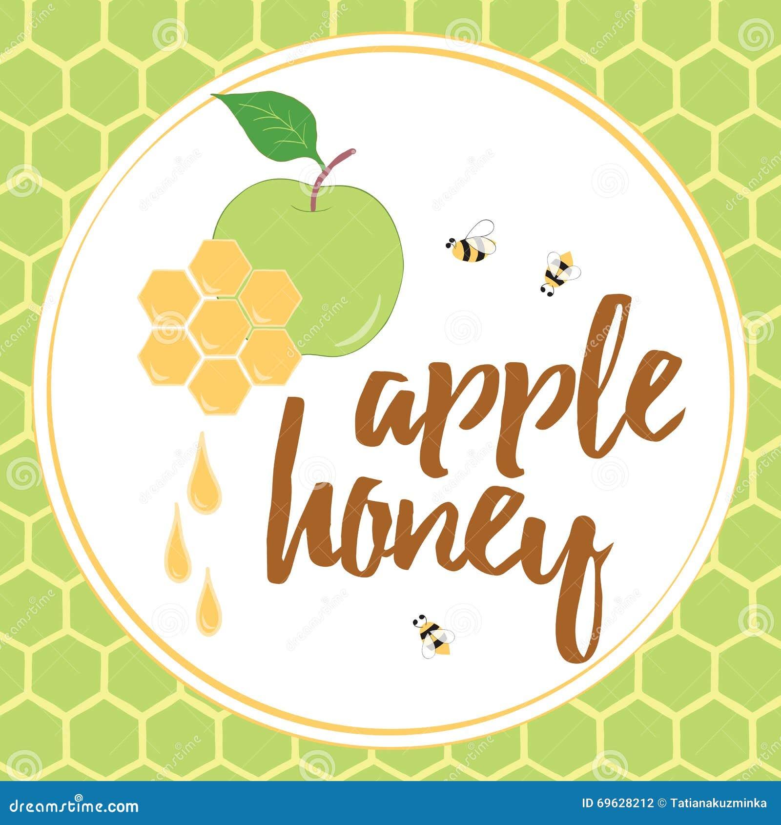 apple and honey jewish new year symbols vector illustration