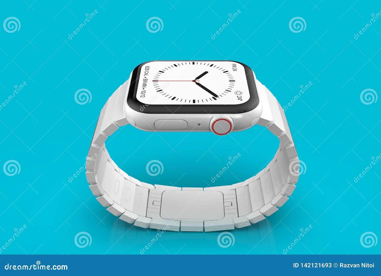 Apple-Horloge 4 wit ceramisch fictief geruchtenapparaat, model