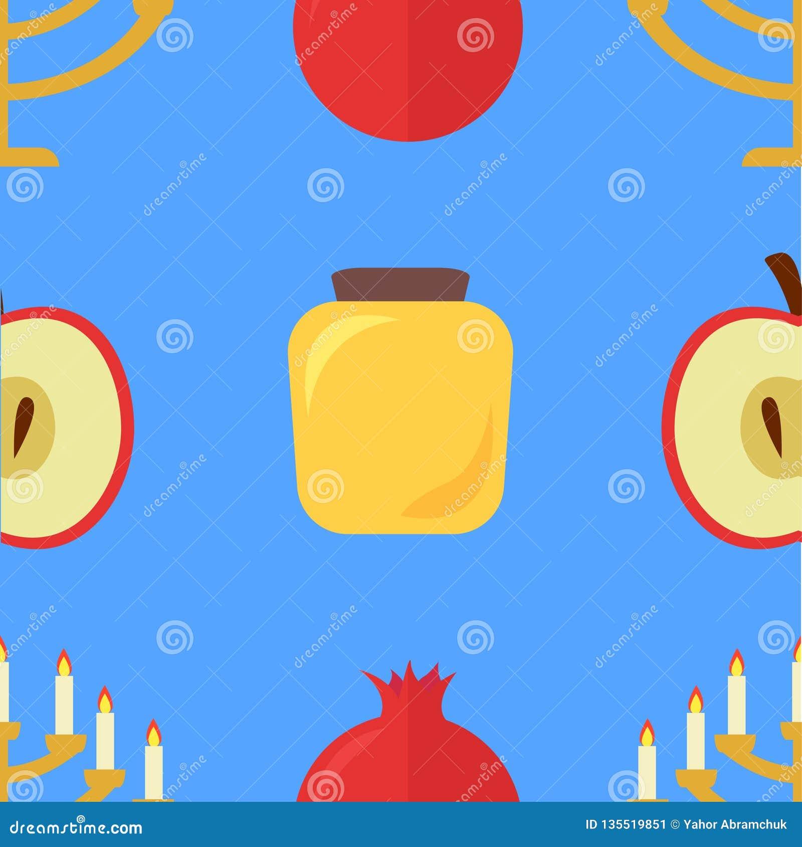 Apple i granatowa wzór, miód, Menorah