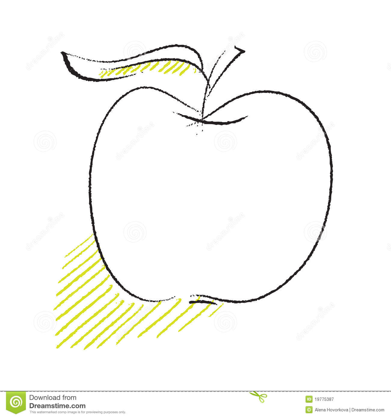 Line Drawing Apple : Apple icon simple freehand drawing royalty free stock