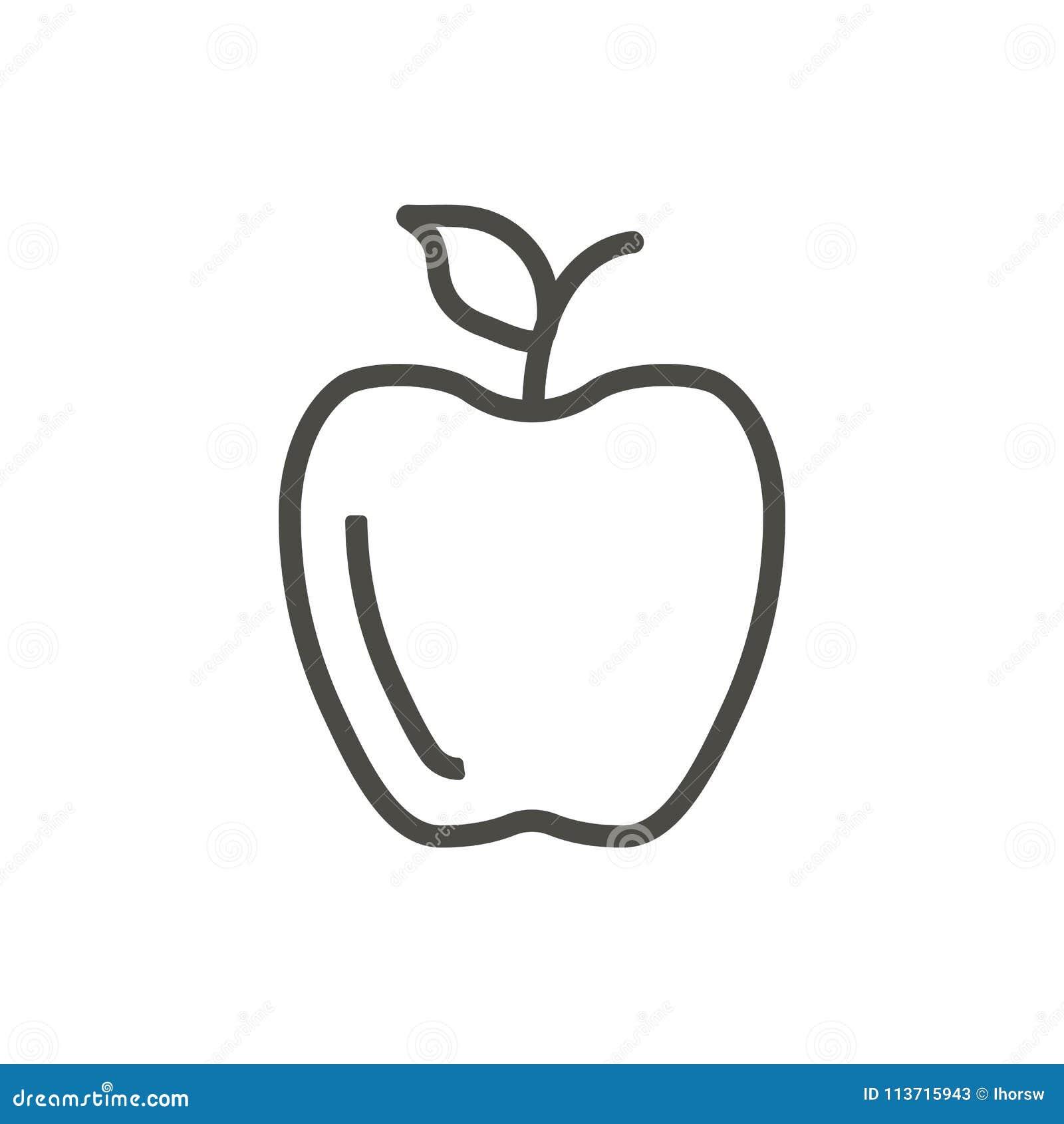 Apple Icon Vector Outline Fruit Line Apple Symbol Stock Vector