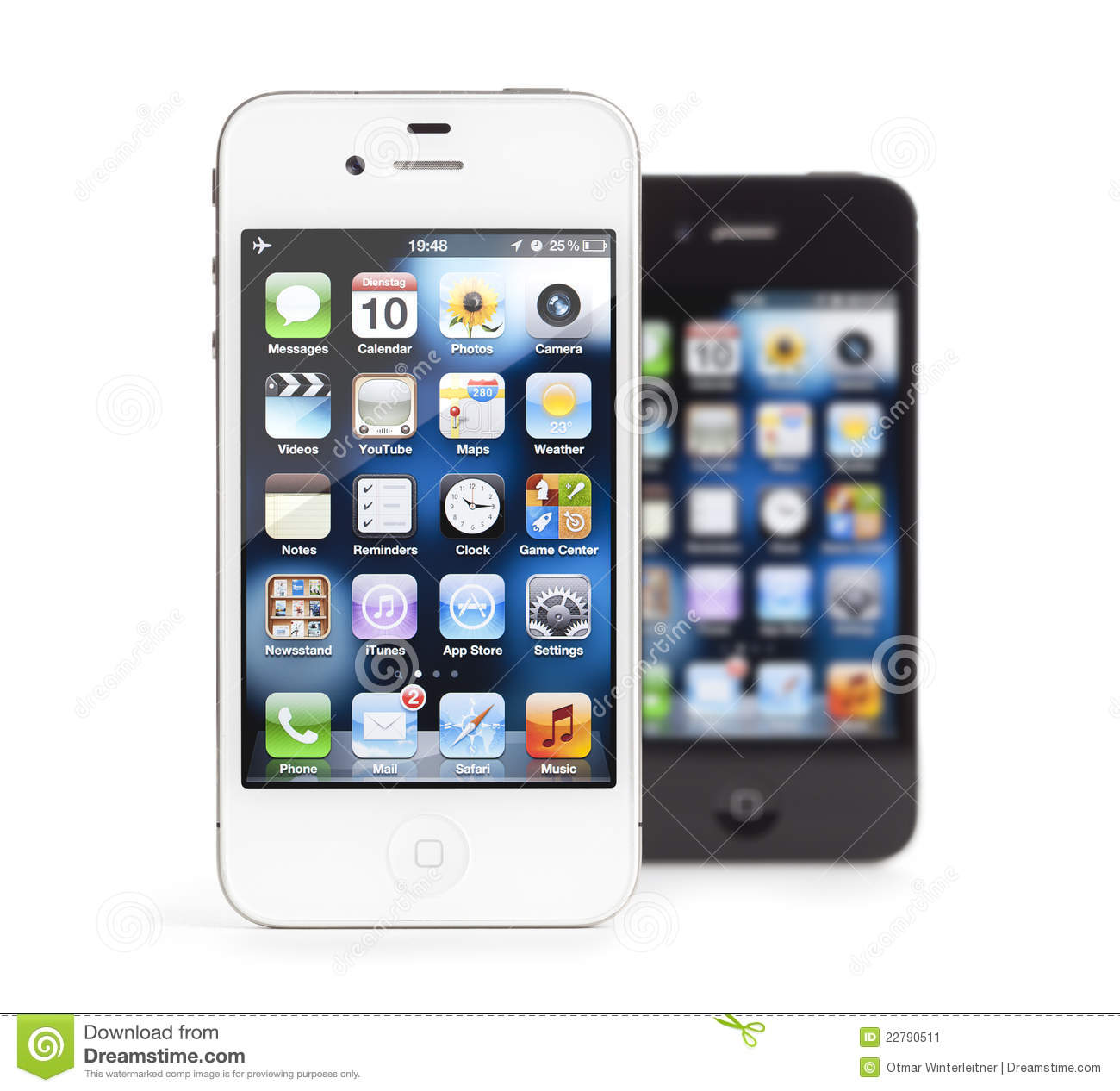 Apple iPhone 4, white and black, isolated. Download preview