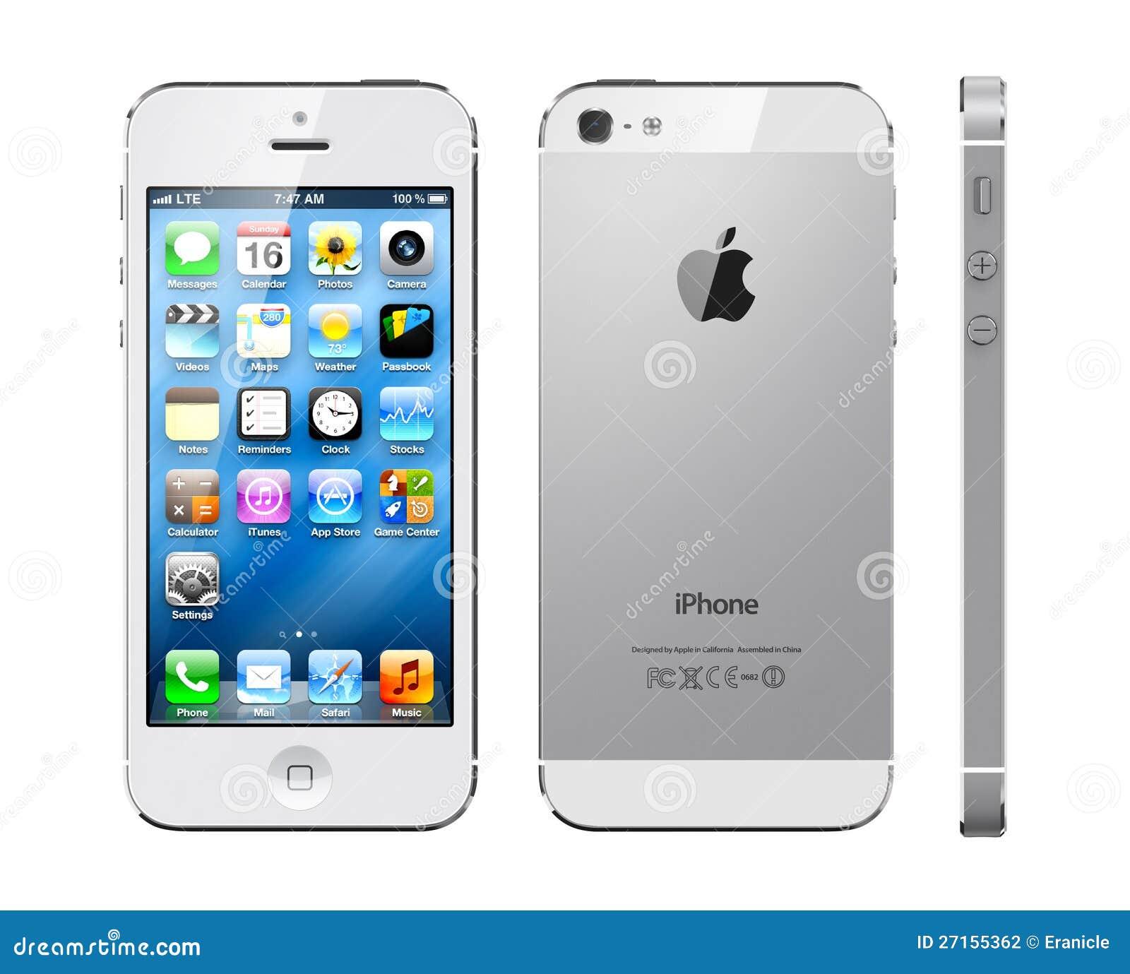 apple iphone 5 wei redaktionelles stockfotografie bild. Black Bedroom Furniture Sets. Home Design Ideas