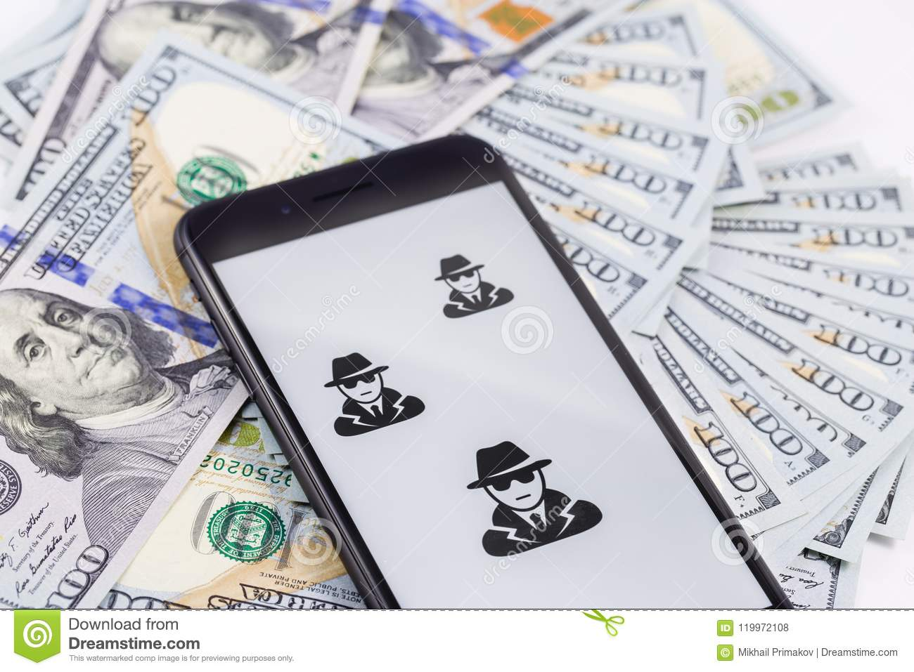 Apple iPhone 8+ with anonymous and hackers and money