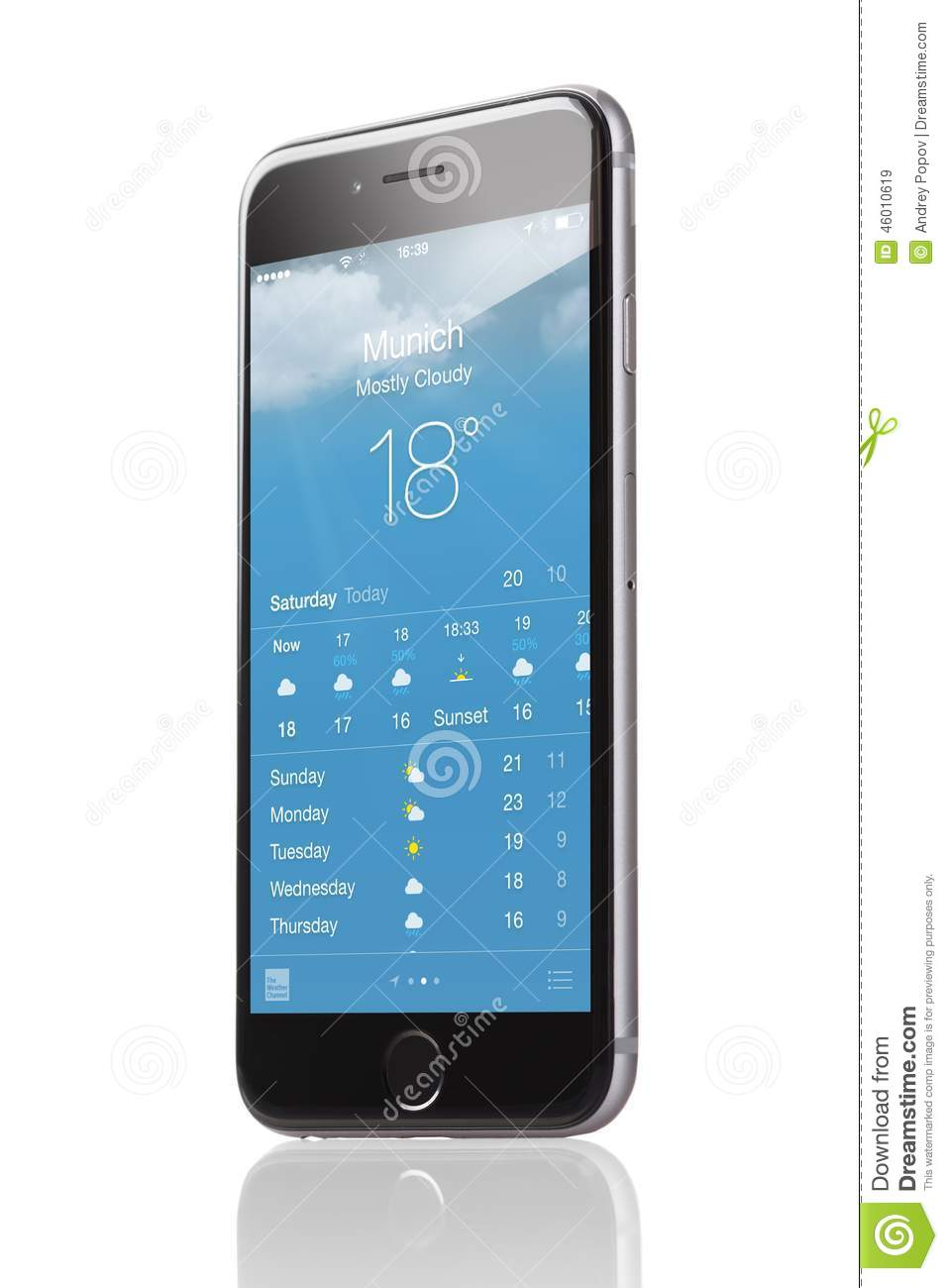 apple iphone 6 with application of weather forecast. Black Bedroom Furniture Sets. Home Design Ideas