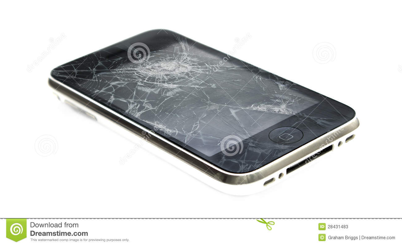 Apple iPhone with a broken screen