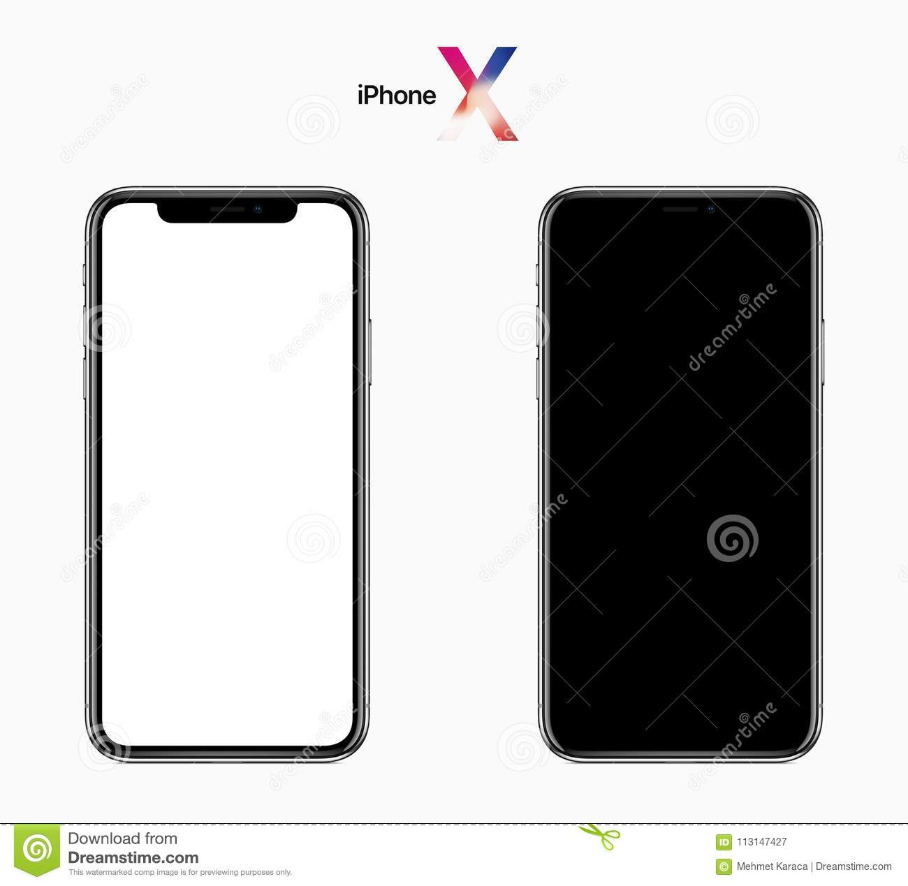 Apple iPhone X, 2017, Front View, Black and White Screens with Clipping Path