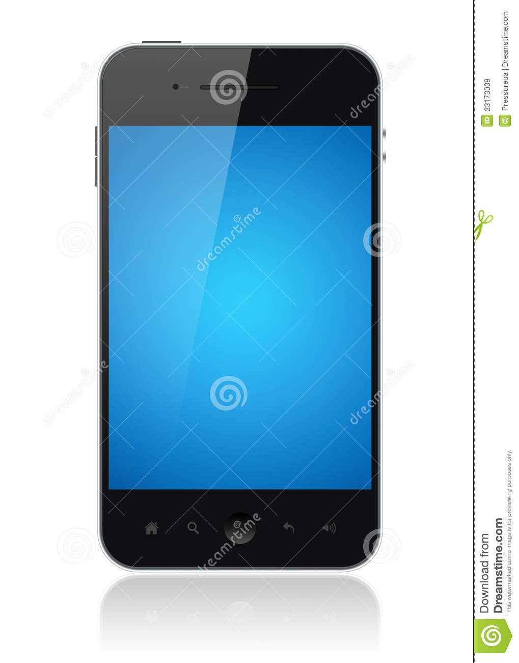 Modern smartphone with blue screen isolated on white. Include clipping ... Iphone Silhouette Icon