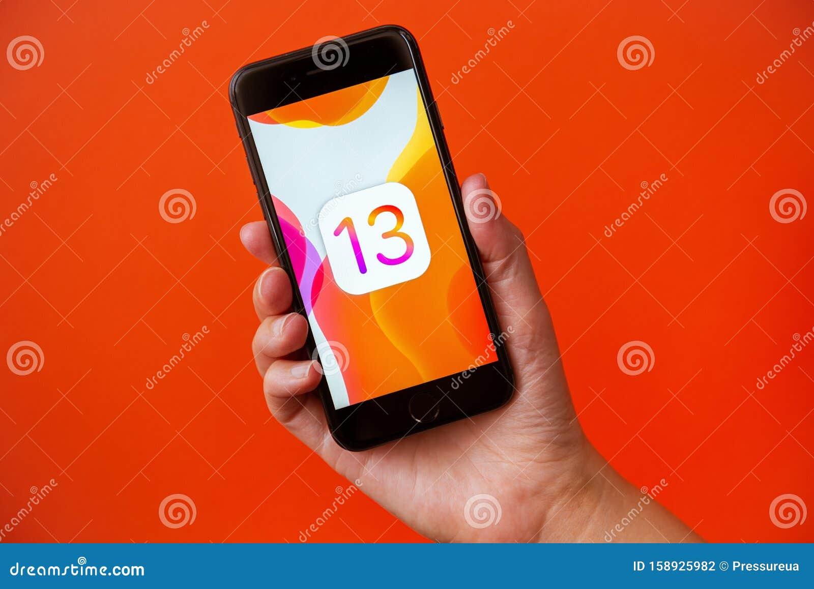 apple iphone ios image screen kyiv ukraine september studio shot hand holding abstract wallpaper release 158925982