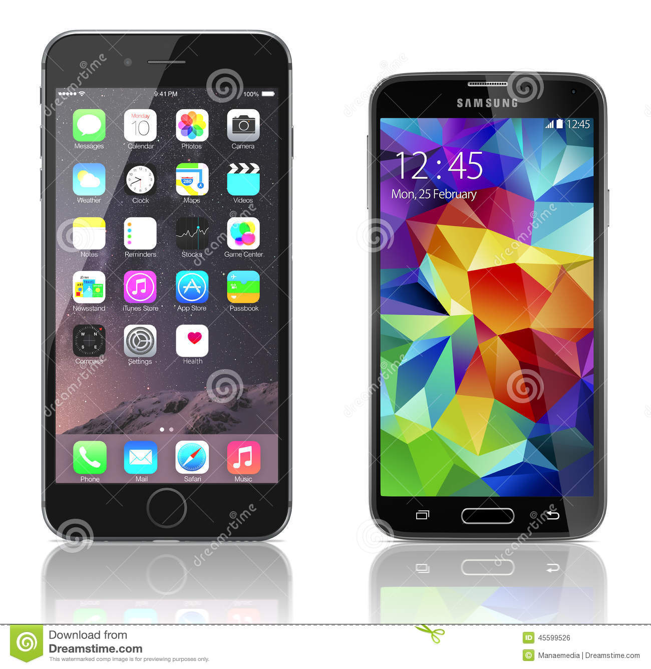 apple iphone 6 plus vs samsung galaxy s5 editorial photo. Black Bedroom Furniture Sets. Home Design Ideas