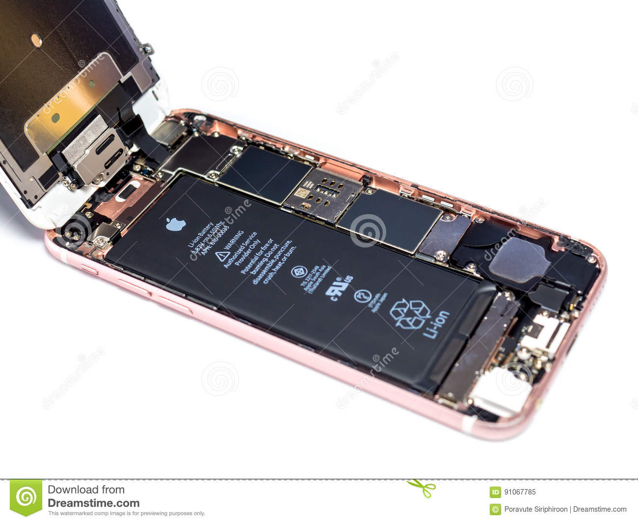 Apple iPhone 6S disassembled showing components inside