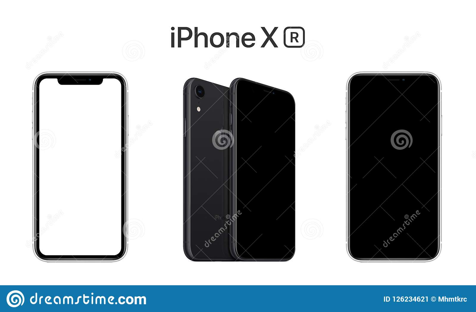Apple iPhone XR Front View, Black and White Screens with Clipping Paths