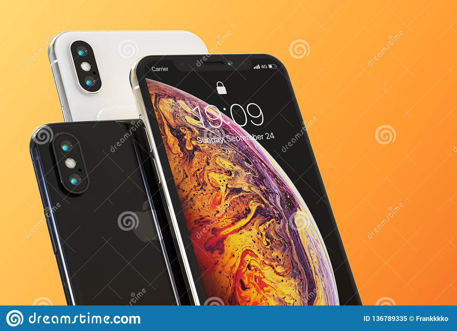 3 Apple iPhone XS smart phones composition