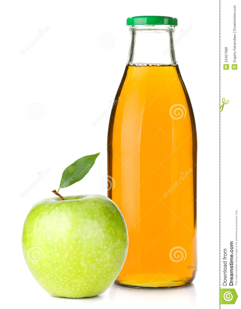 Cartoon Juice Bottle Apple Juice in a Glass Bottle