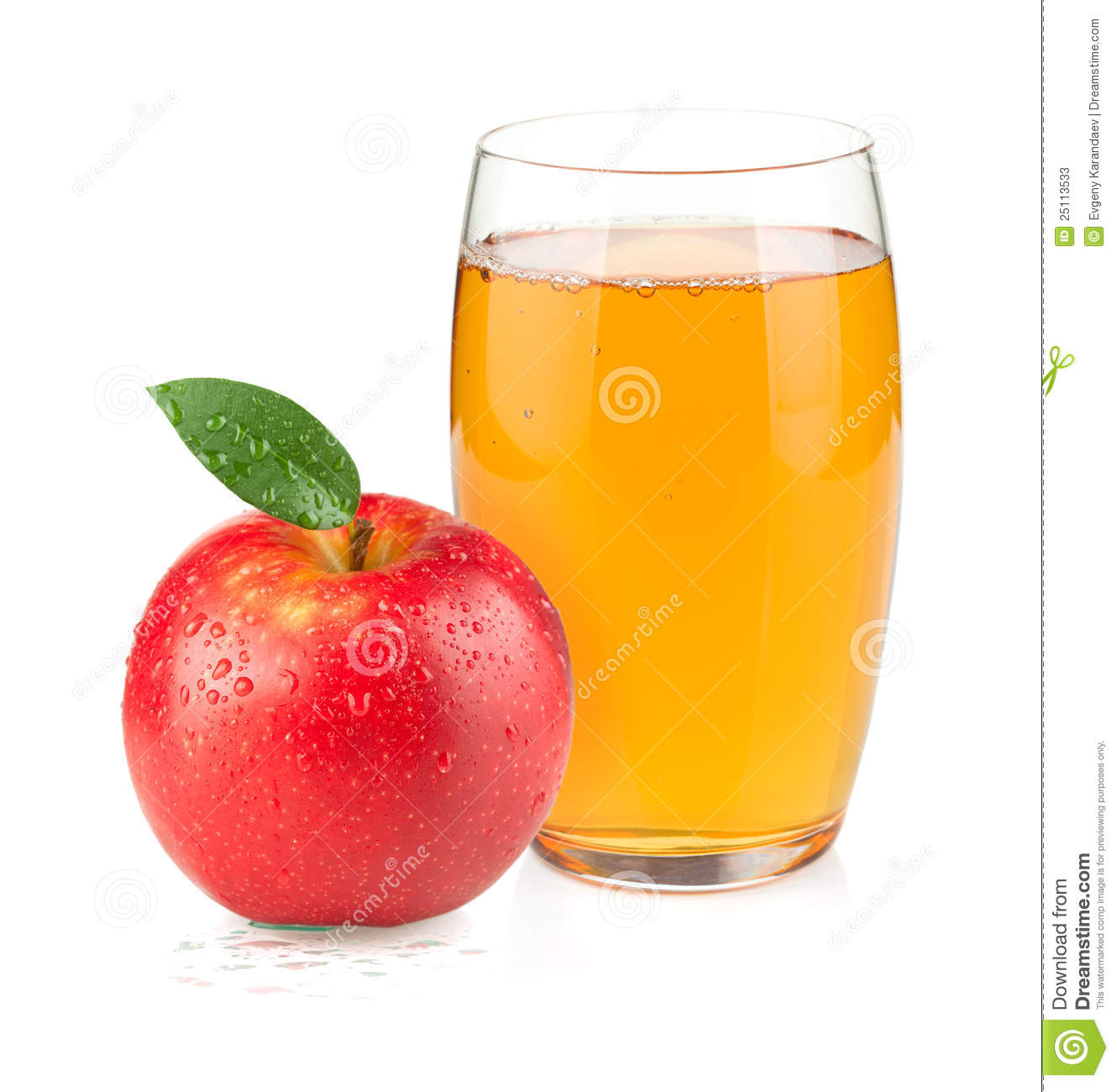 Apple juice in a glass and red apple stock photos image 25113533 - Toile de verre skinglass ...