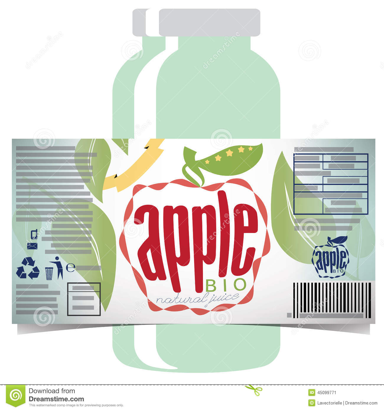 Apple Juice Product Label Stock Vector Image 45099771