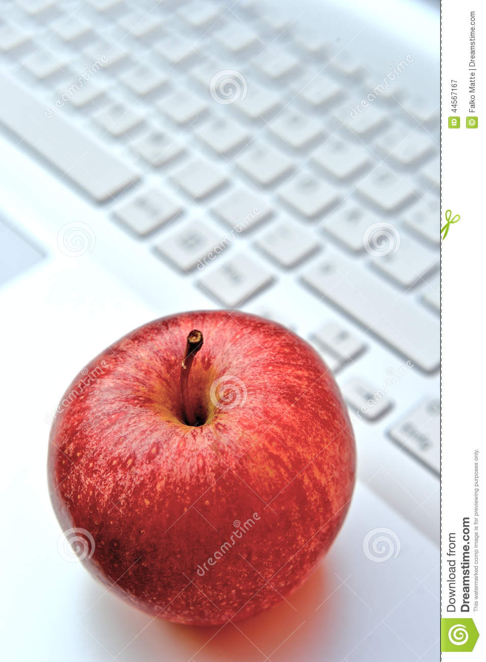 Apple on keyboard