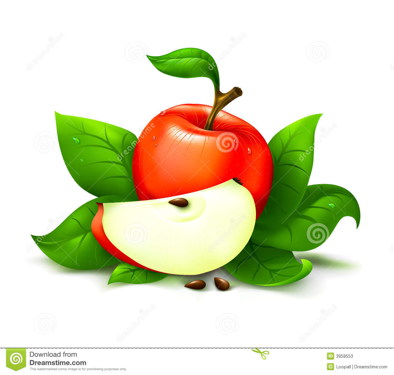 Apple with leafs