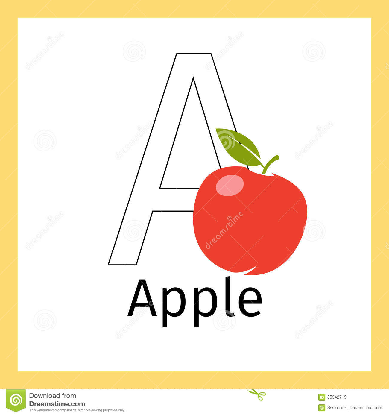 apple and letter a coloring page stock vector image 85342715