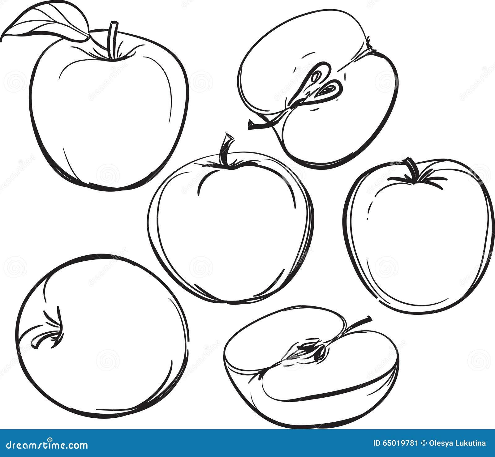 Line Art Apple : Nuovo disegni di mele da colorare per bambini