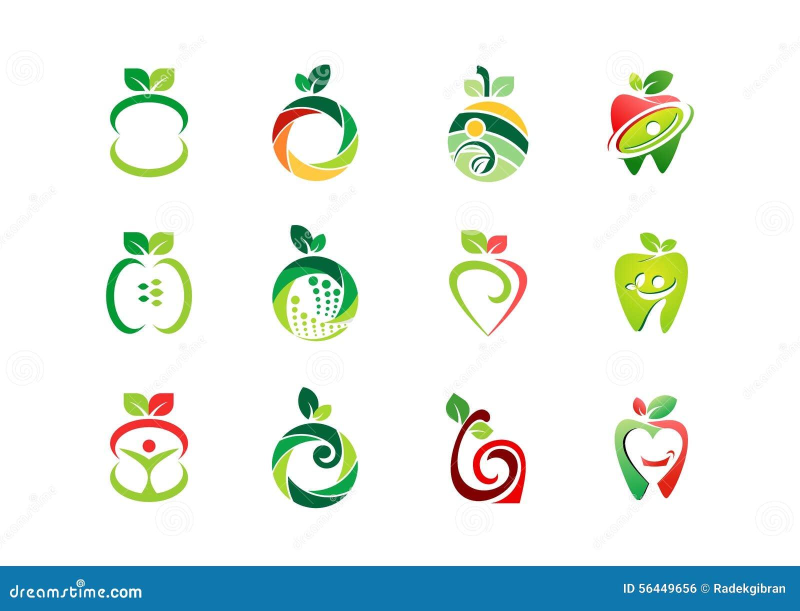 Apple Logo Fresh Fruit Fruits Nutrition Health Nature Set Icon