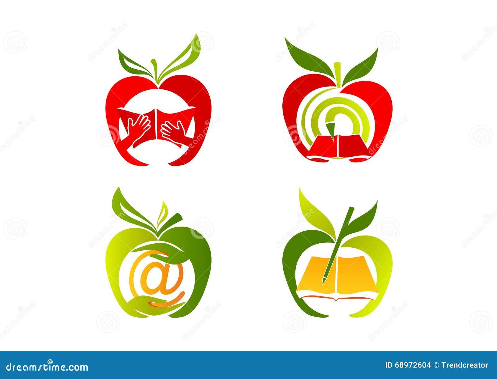 Apple-Logo, Gesunde Bildungsikone, Frucht Lernen Symbol, Neues ...