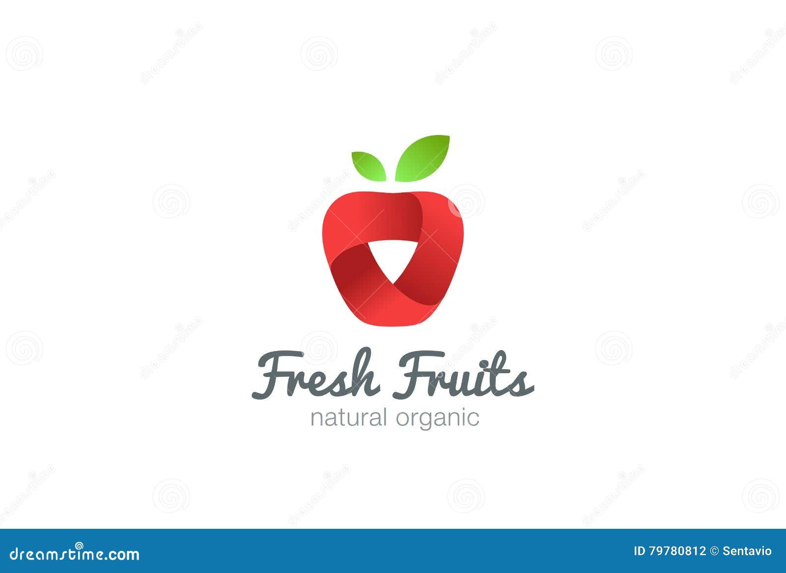 apple logo ribbon vector. fresh fruit idea juice stock vector