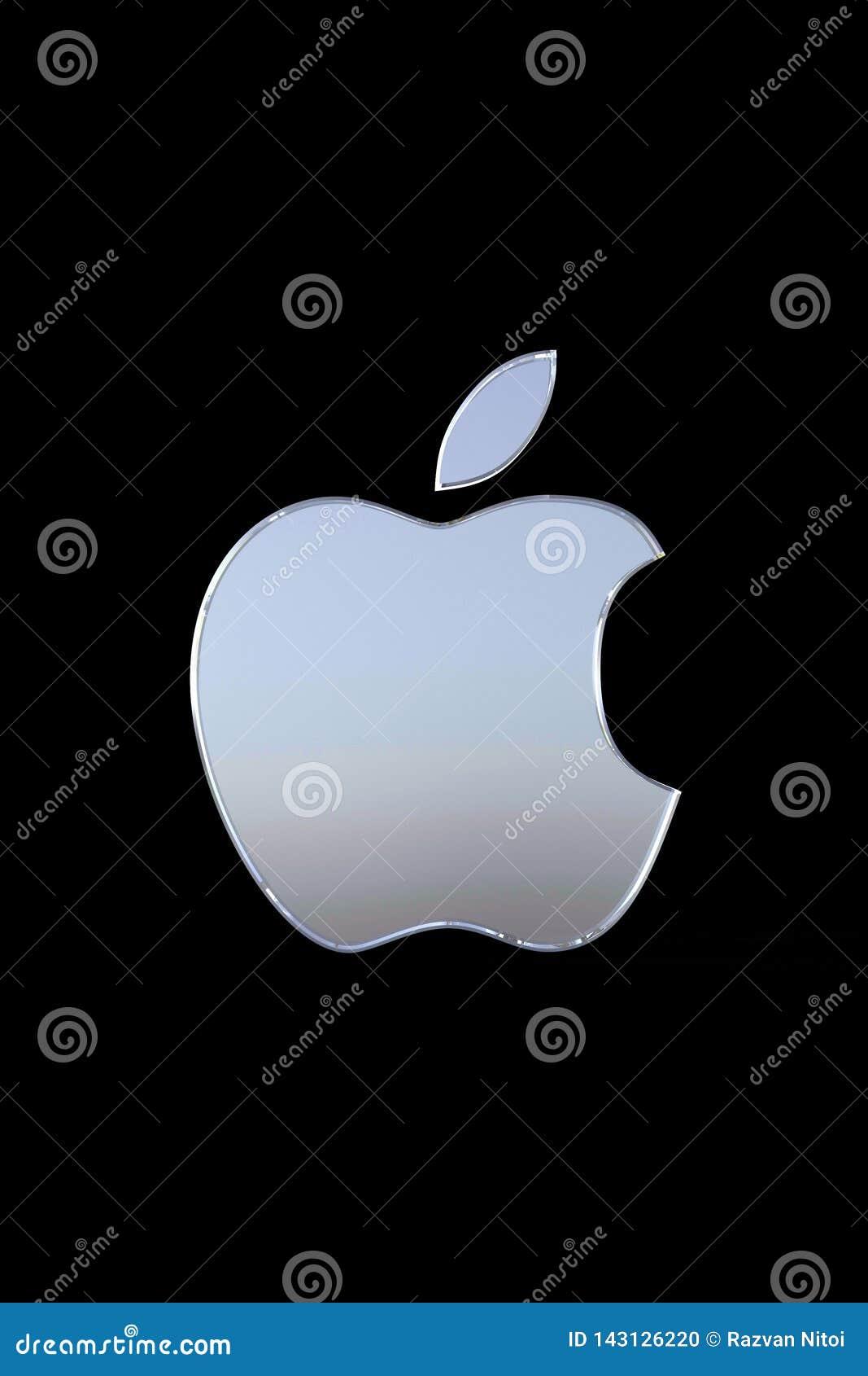Apple Logo Wallpaper Dark Background Editorial Image