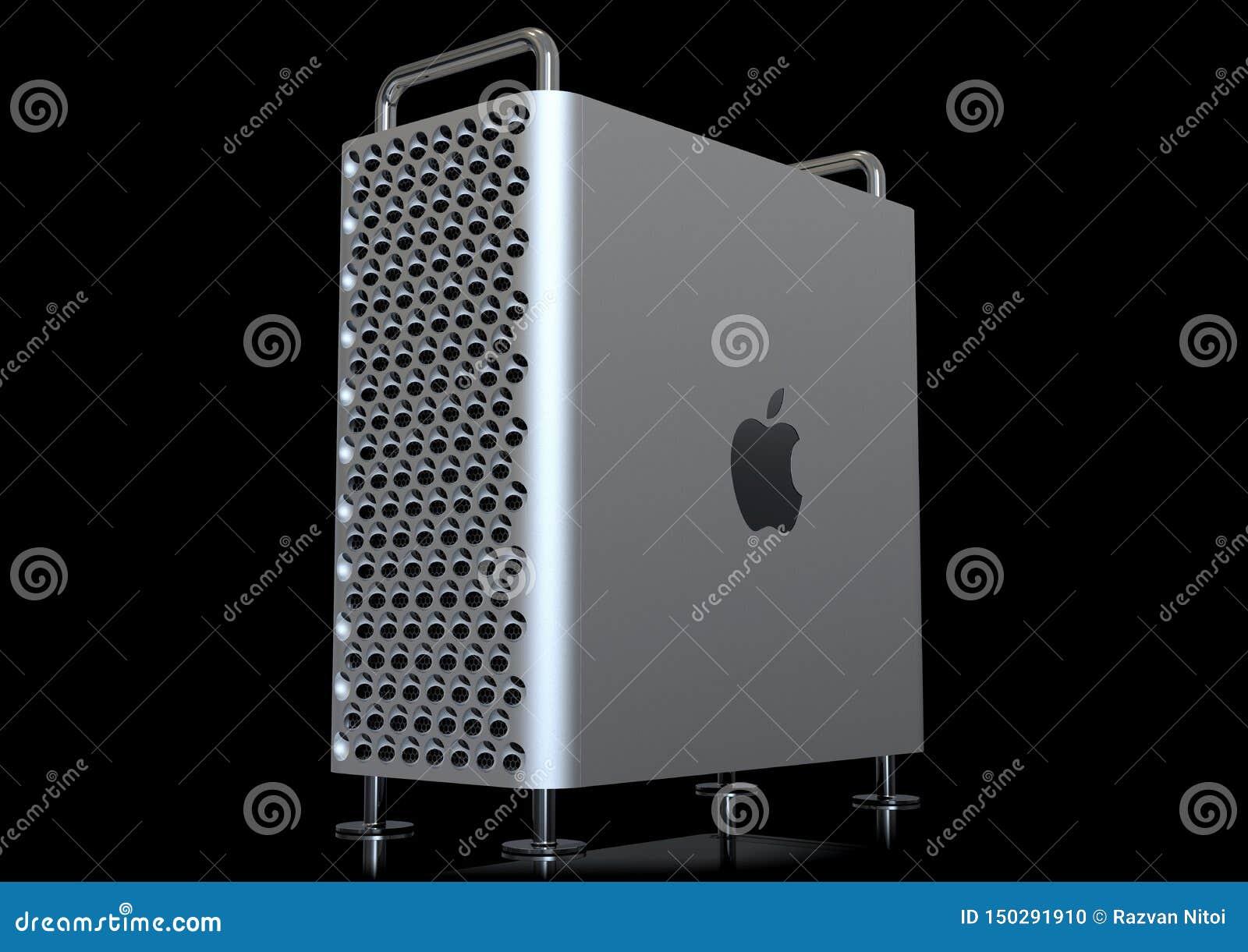 Apple Mac Pro 2019 skrivbords- dator, perspektiv på svart