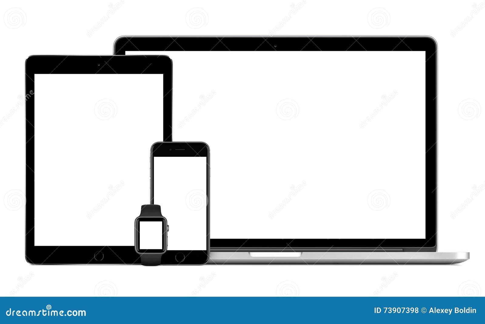 Apple MacBook Pro con reloj del iPhone 6S Apple del iPad gris del espacio el favorable