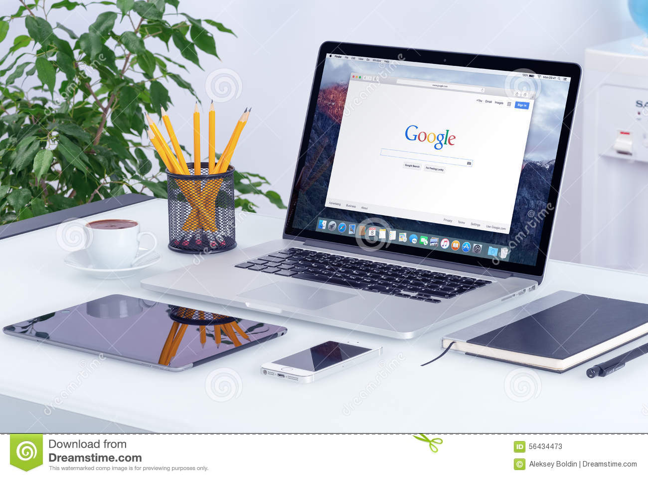 apple macbook pro on desk with google search web page editorial stock photo image of google. Black Bedroom Furniture Sets. Home Design Ideas