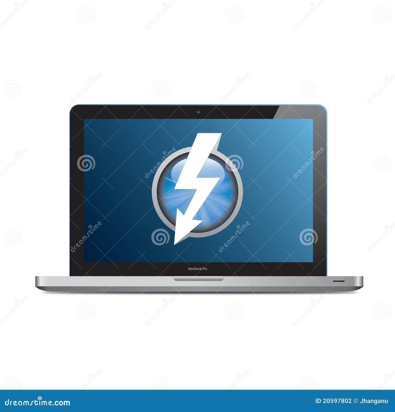 Apple MacBook Pro mit Thunderboltzeichen auf Bildschirm