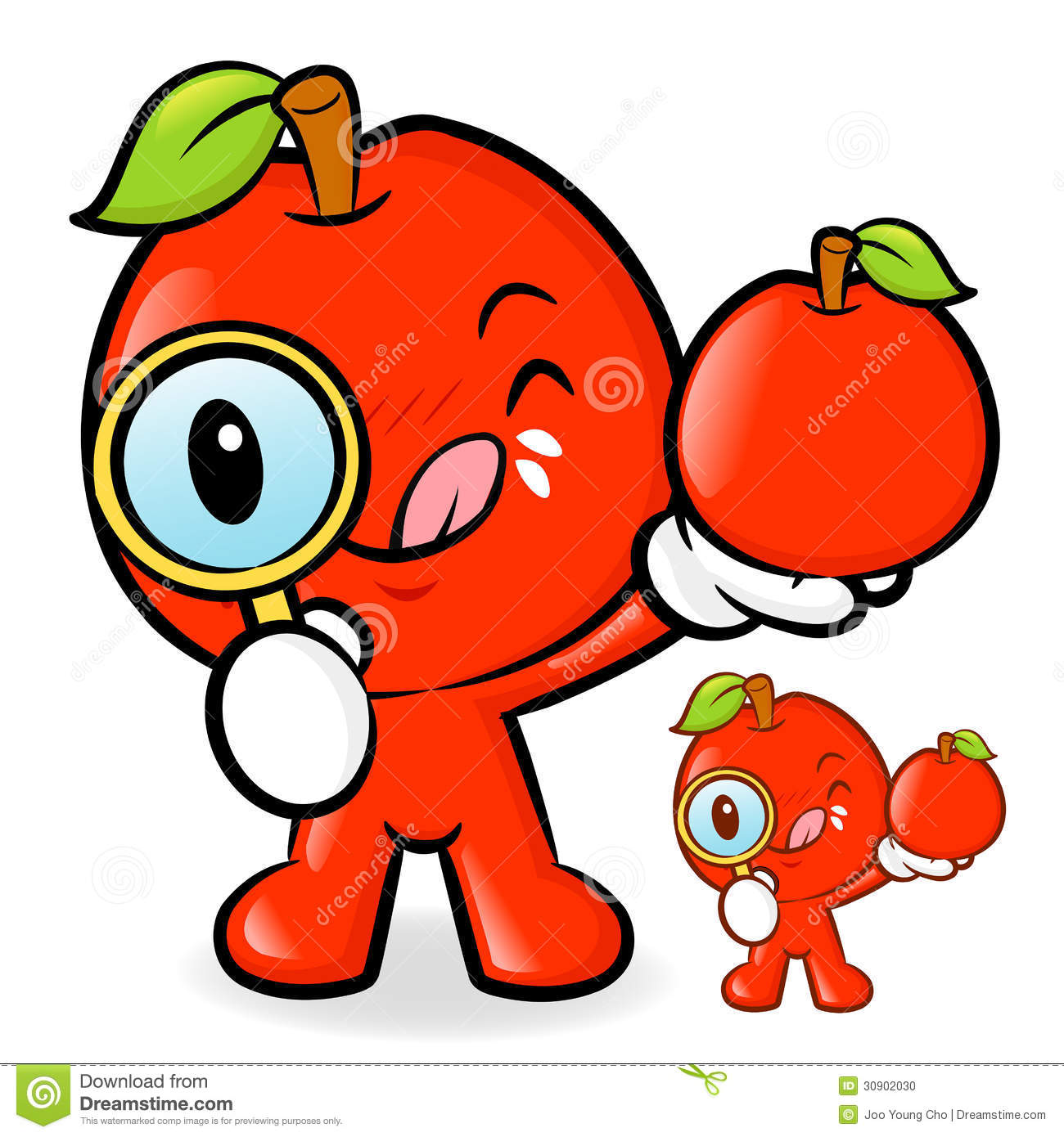 Apple Character Design : Apple mascot examine a with magnifying glass fruit