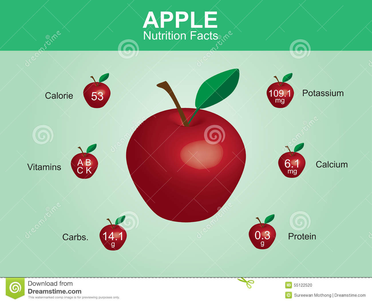 Vector Of Nutrition Facts Apple Stock Vector - Image: 45854224
