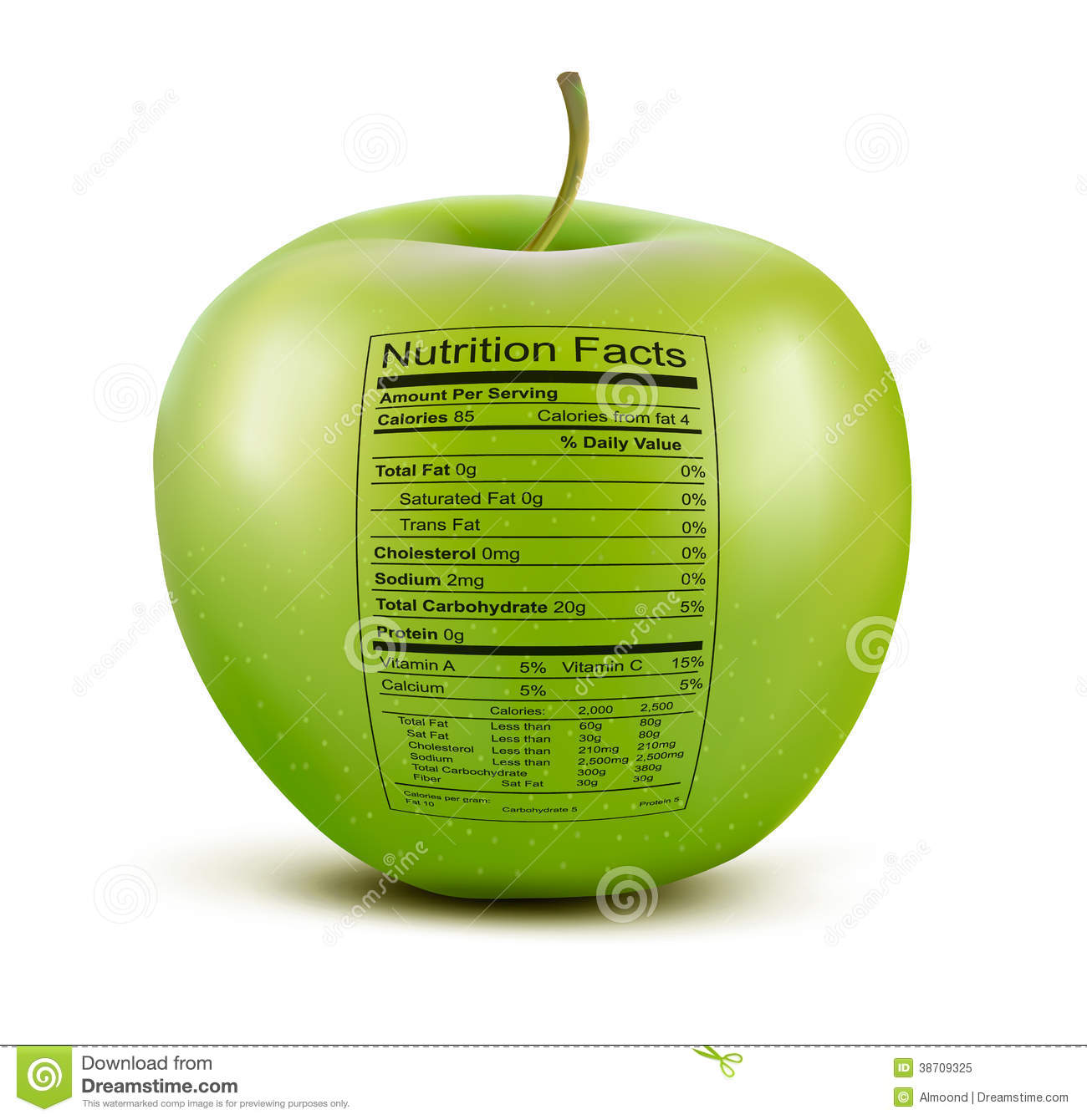 Apple Nutrition Facts Stock Vector - Image: 54094217
