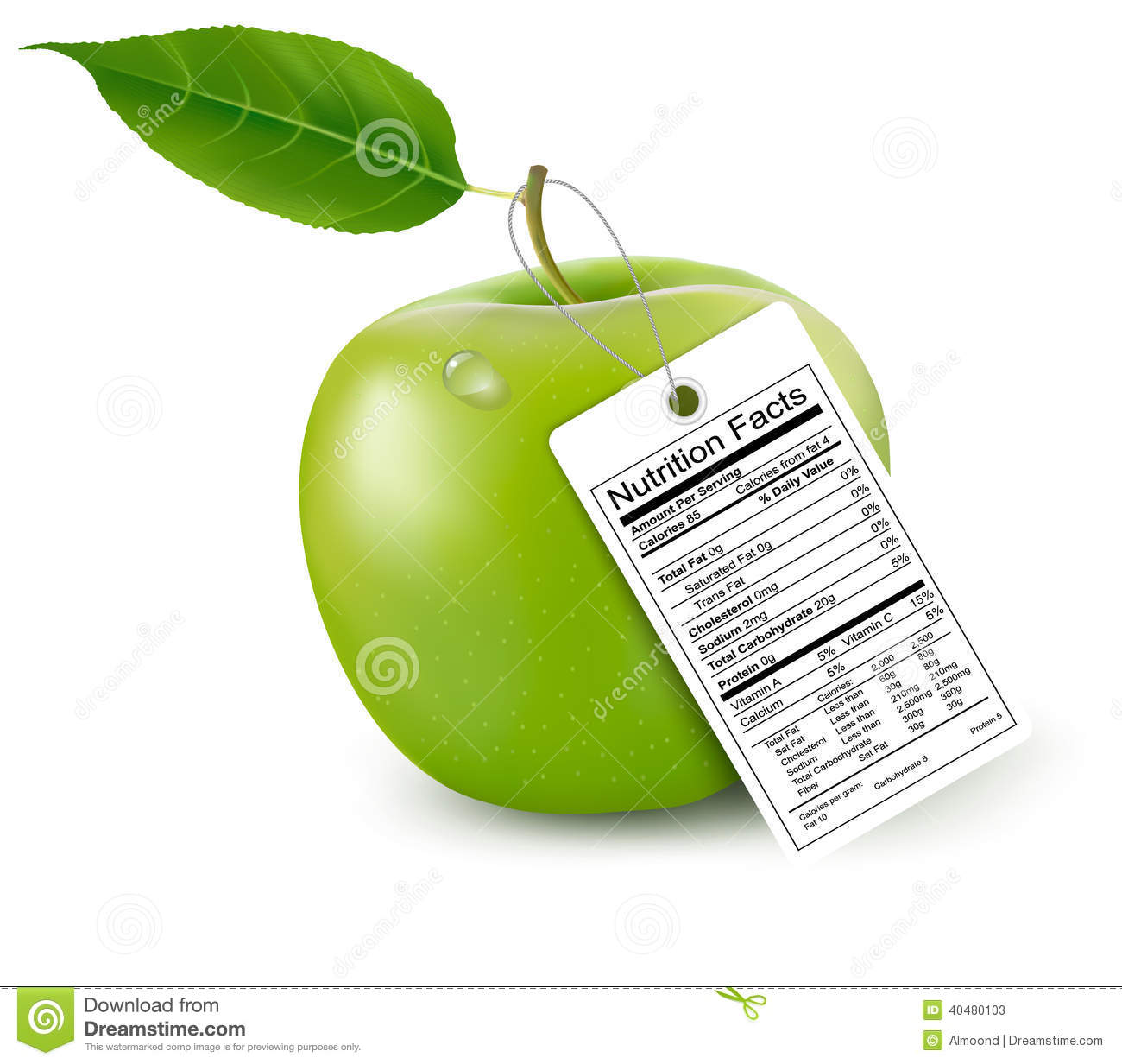 An Apple With A Nutrition Facts Label. Stock Photo - Image: 40480103