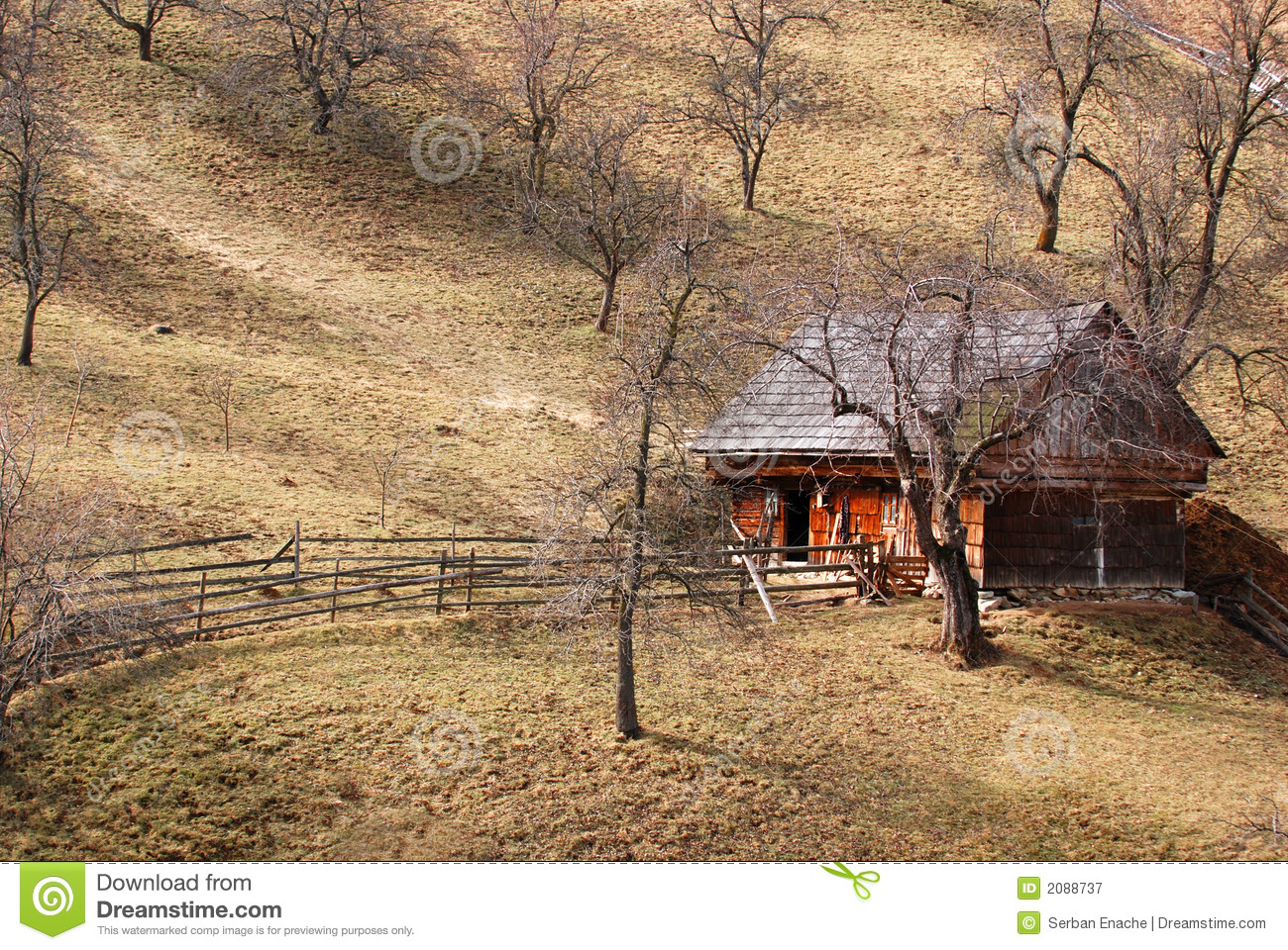 Apple Orchard And Hillside House Stock Image Image Of Small Sloping 2088737