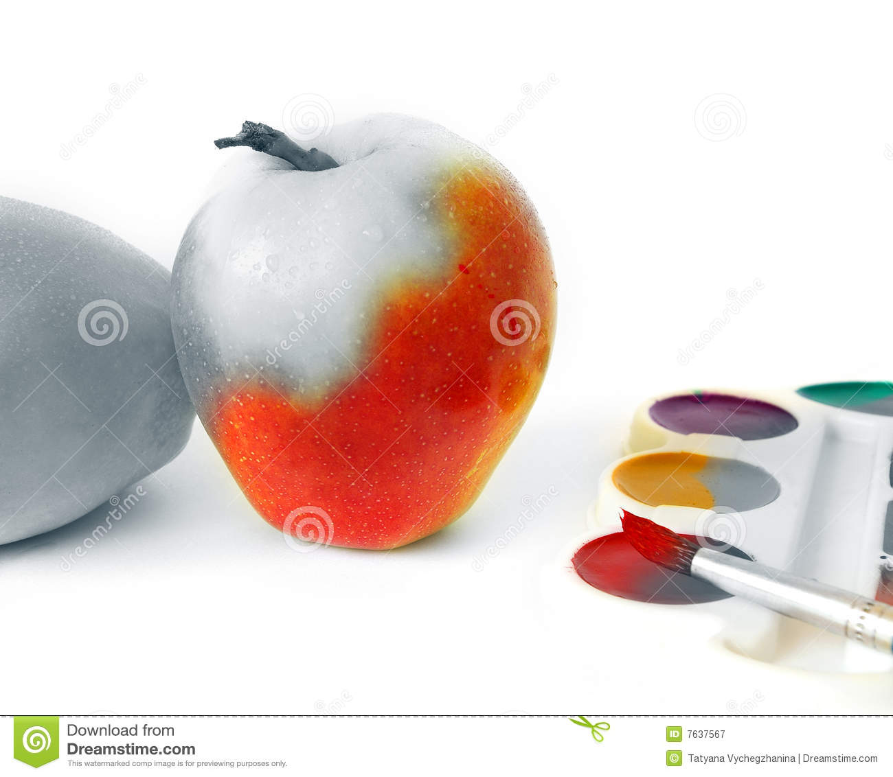 Apple and paints on white