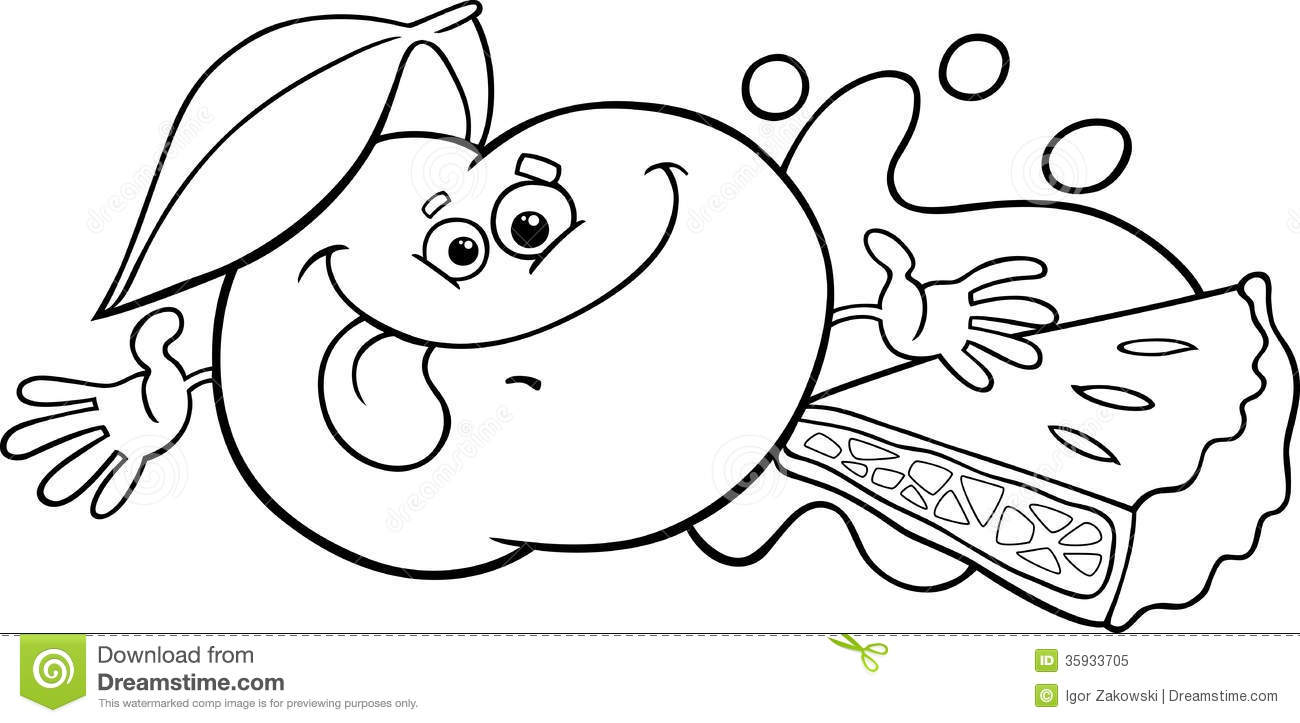 Apple And Pie Cartoon Coloring Page