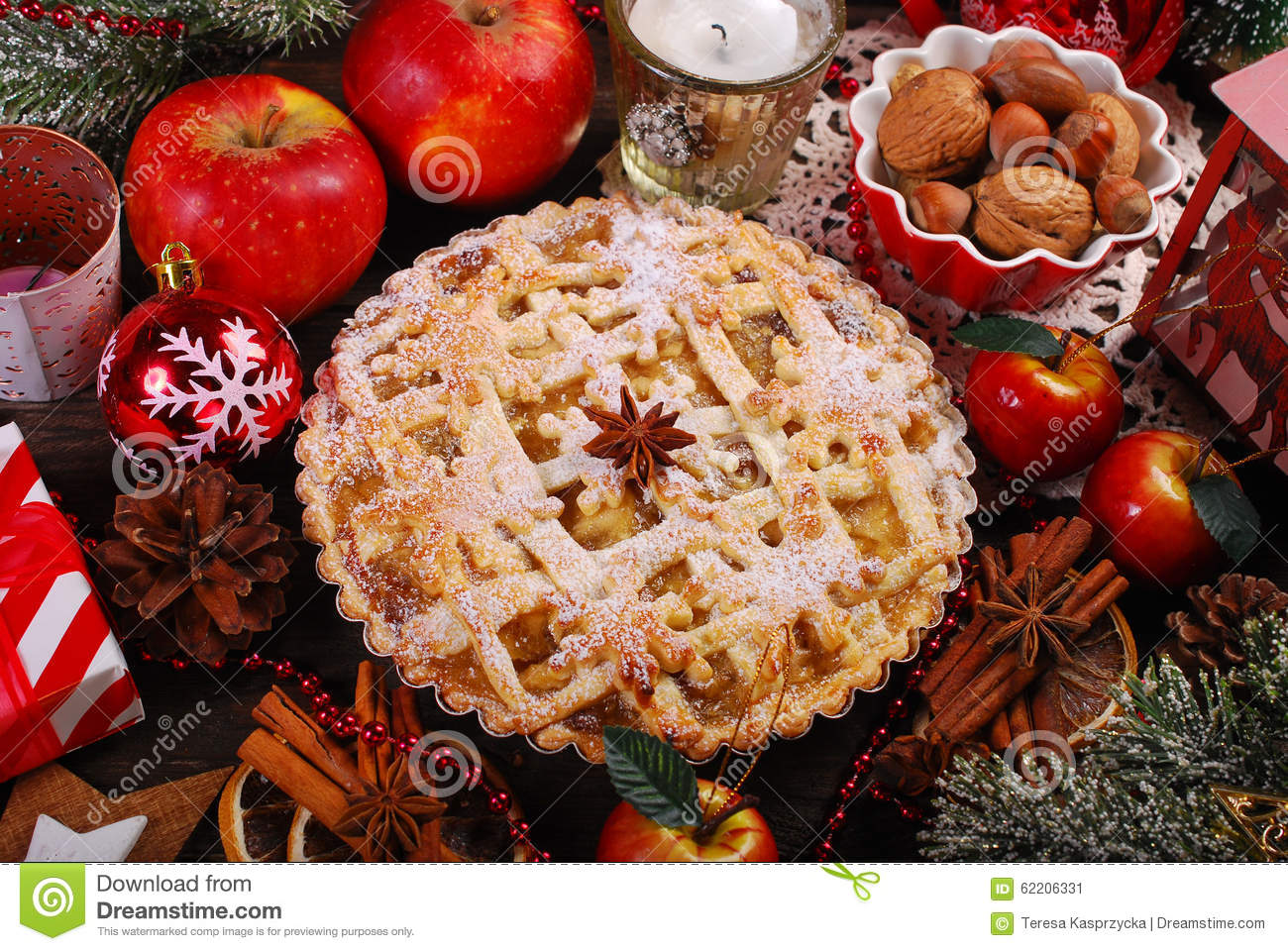 Apple Pie For Christmas Stock Photo Image 62206331