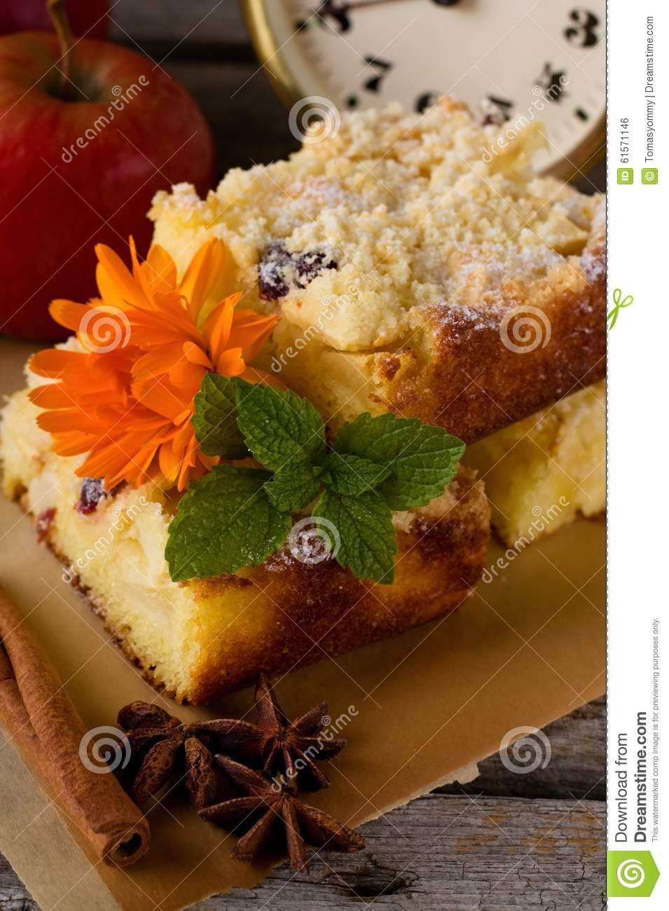 Apple Pie With Cinnamon And Star Anise Stock Photo - Image ...