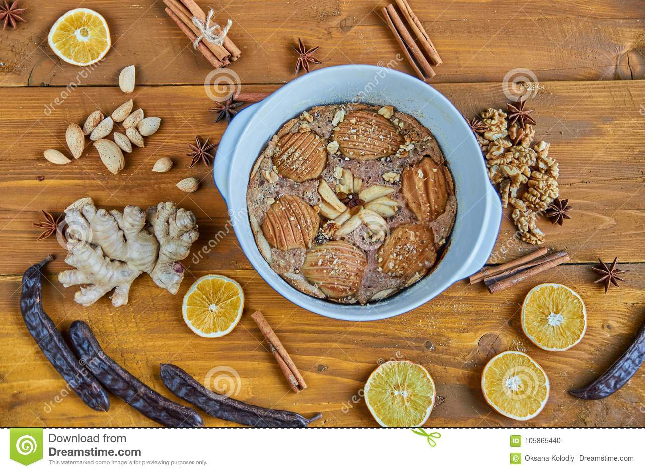 An Apple Pie Decorated With Dried Fruits, Orange, Carob ...