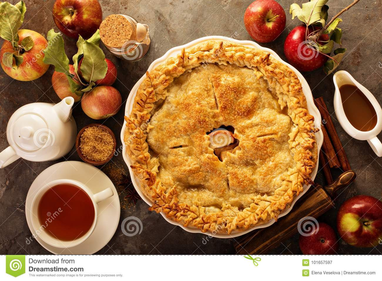 Apple pie decorated with fall leaves